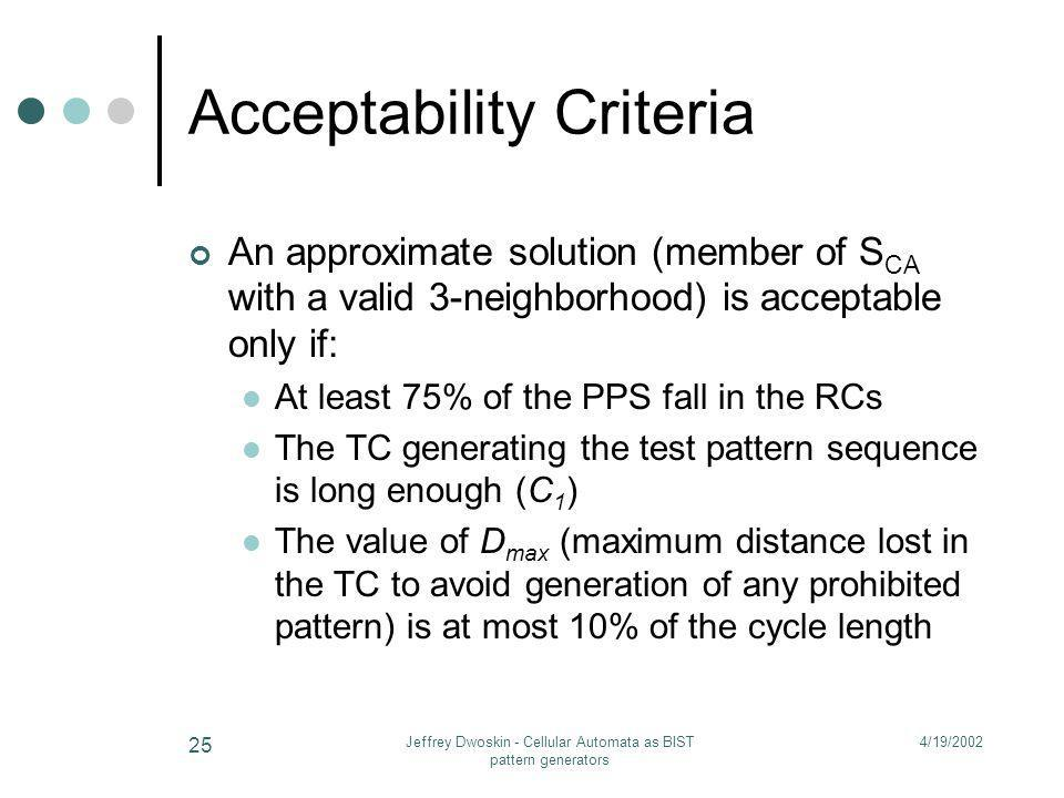 4/19/2002Jeffrey Dwoskin - Cellular Automata as BIST pattern generators 25 Acceptability Criteria An approximate solution (member of S CA with a valid