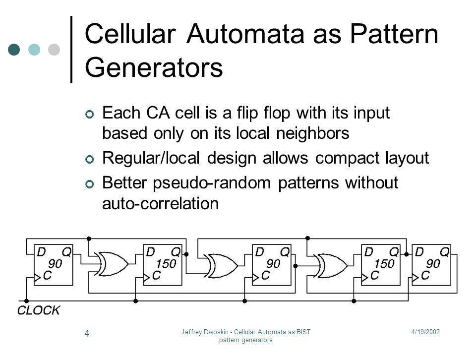 4/19/2002Jeffrey Dwoskin - Cellular Automata as BIST pattern generators 4 Cellular Automata as Pattern Generators Each CA cell is a flip flop with its