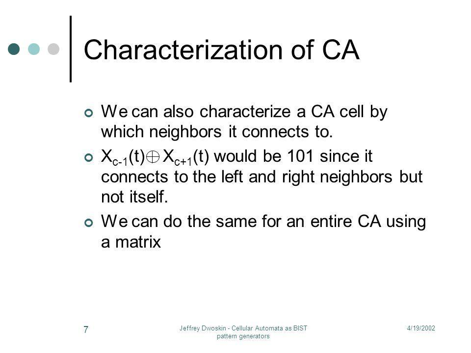 4/19/2002Jeffrey Dwoskin - Cellular Automata as BIST pattern generators 7 Characterization of CA We can also characterize a CA cell by which neighbors