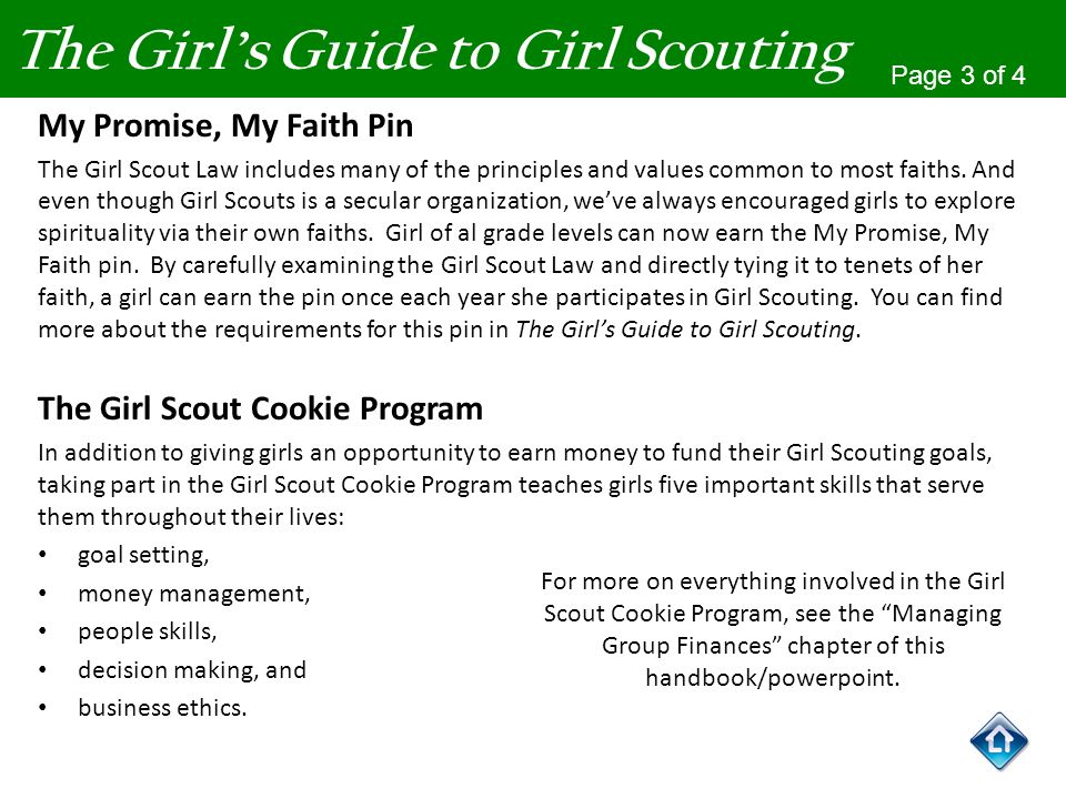 The Girls Guide to Girl Scouting Page 3 of 4 My Promise, My Faith Pin The Girl Scout Law includes many of the principles and values common to most fai