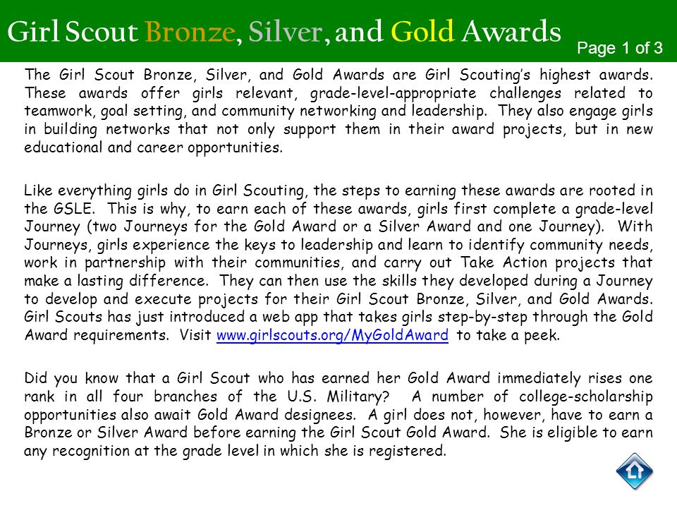 Girl Scout Bronze, Silver, and Gold Awards The Girl Scout Bronze, Silver, and Gold Awards are Girl Scoutings highest awards. These awards offer girls