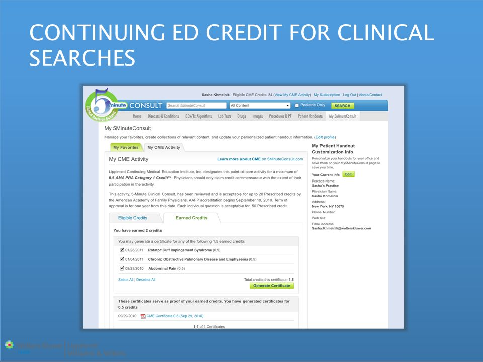 CONTINUING ED CREDIT FOR CLINICAL SEARCHES