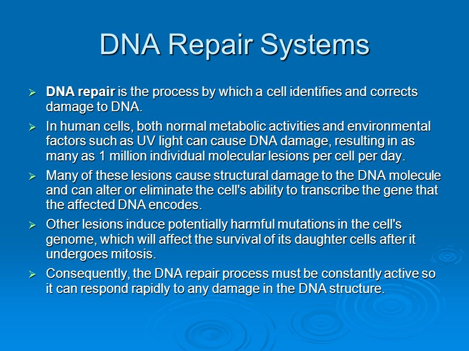 DNA Repair Systems DNA repair is the process by which a cell identifies and corrects damage to DNA. DNA repair is the process by which a cell identifi