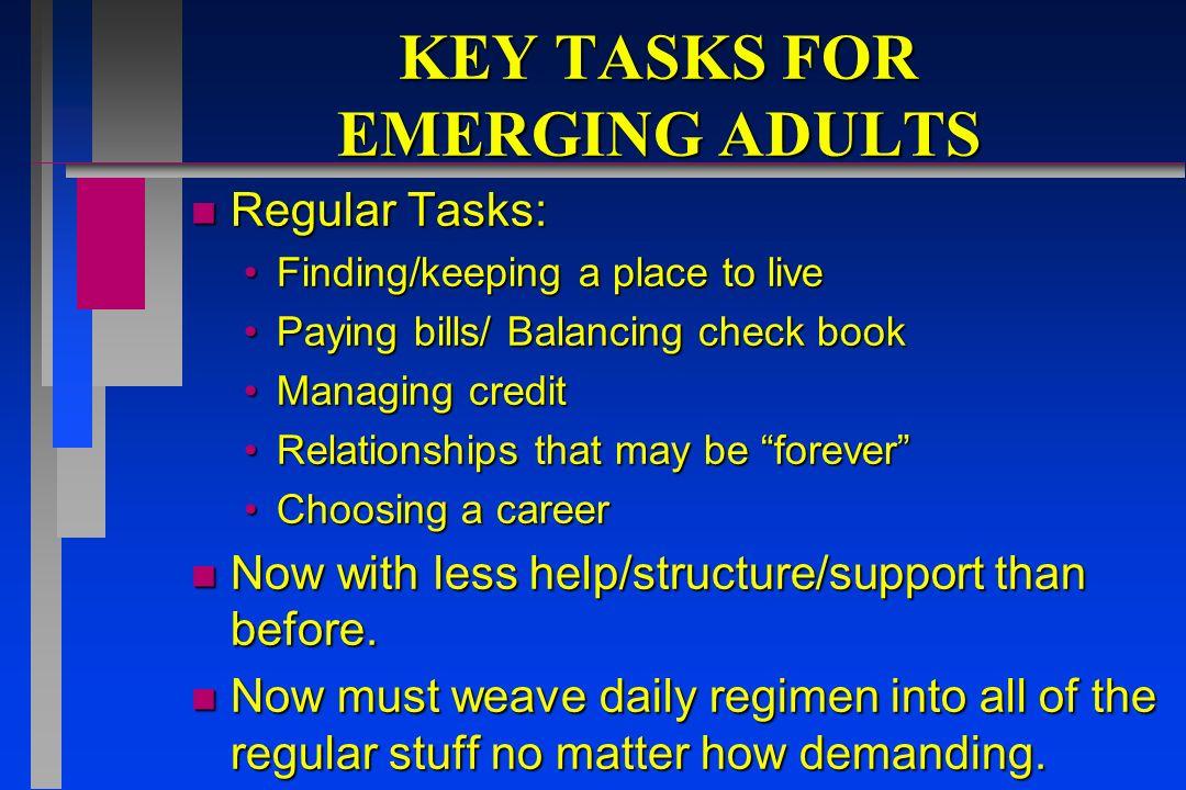 KEY TASKS FOR EMERGING ADULTS n Arnetts survey.18-24 year olds.