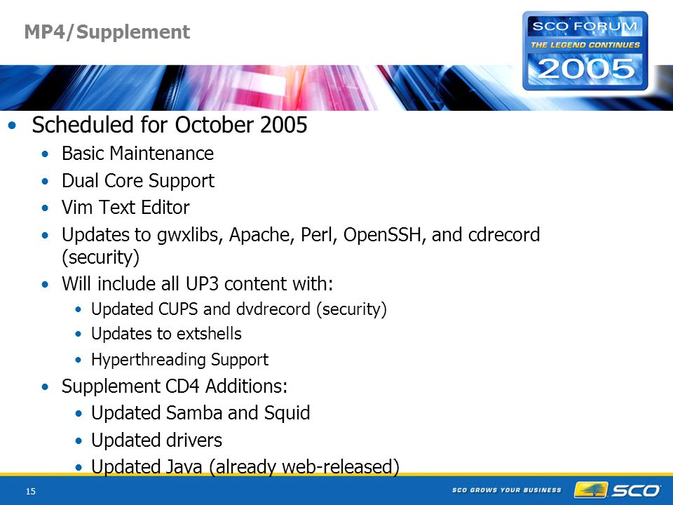 15 MP4/Supplement Scheduled for October 2005 Basic Maintenance Dual Core Support Vim Text Editor Updates to gwxlibs, Apache, Perl, OpenSSH, and cdreco