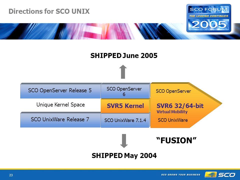 23 SCO UnixWare Release 7 SCO OpenServer Release 5 Unique Kernel Space Directions for SCO UNIX SCO OpenServer SCO UnixWare SVR6 32/64-bit Virtual Mobility FUSION SCO UnixWare 7.1.4 SVR5 Kernel SCO OpenServer 6 SHIPPED June 2005 SHIPPED May 2004