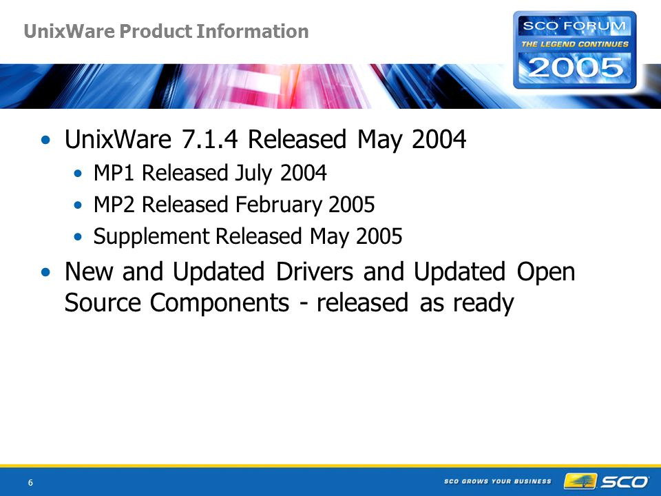 6 UnixWare Product Information UnixWare 7.1.4 Released May 2004 MP1 Released July 2004 MP2 Released February 2005 Supplement Released May 2005 New and