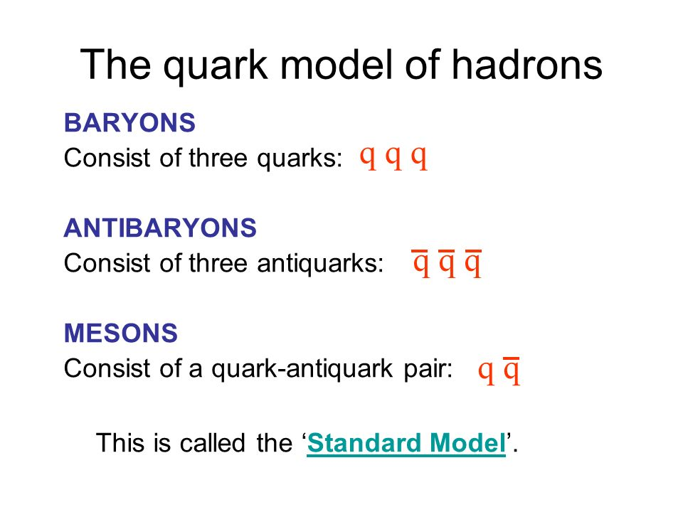 The quark model of hadrons BARYONS Consist of three quarks: ANTIBARYONS Consist of three antiquarks: MESONS Consist of a quark-antiquark pair: q q q q