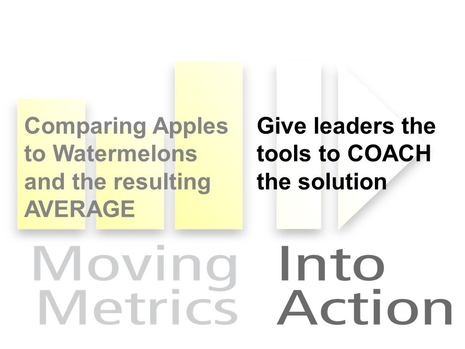 Comparing Apples to Watermelons and the resulting AVERAGE Give leaders the tools to COACH the solution