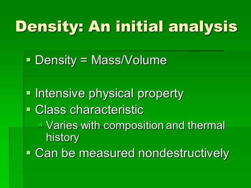 Density: An initial analysis Density = Mass/Volume Density = Mass/Volume Intensive physical property Intensive physical property Class characteristic