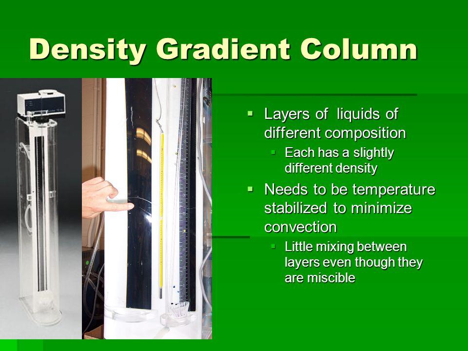 Density Gradient Column Layers of liquids of different composition Layers of liquids of different composition Each has a slightly different density Ne