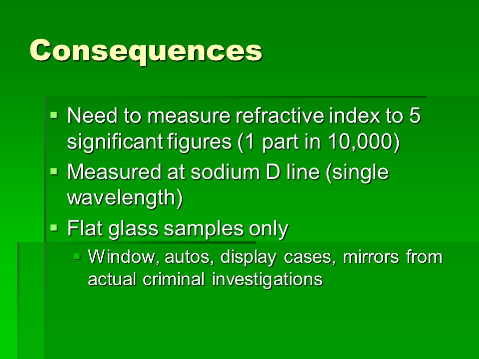 Consequences Need to measure refractive index to 5 significant figures (1 part in 10,000) Need to measure refractive index to 5 significant figures (1