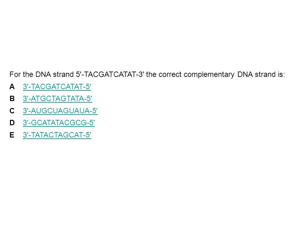 For the DNA strand 5'-TACGATCATAT-3' the correct complementary DNA strand is: A3'-TACGATCATAT-5' B3'-ATGCTAGTATA-5' C3'-AUGCUAGUAUA-5' D3'-GCATATACGCG