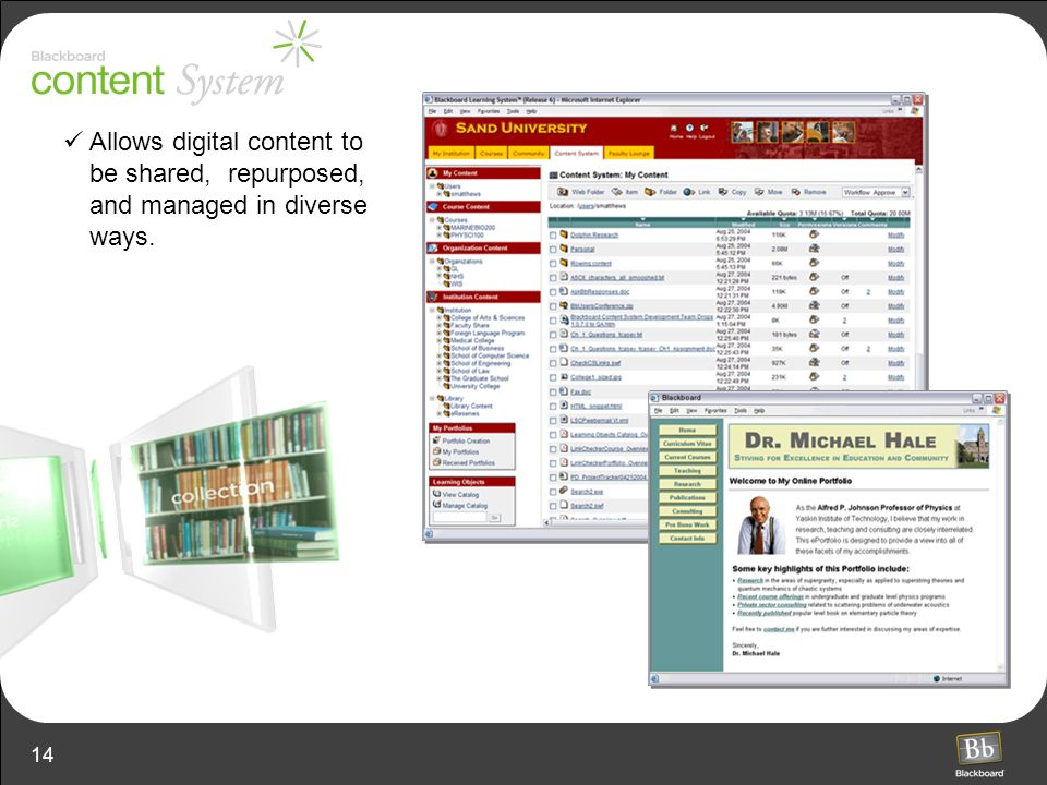 14 Allows digital content to be shared, repurposed, and managed in diverse ways.