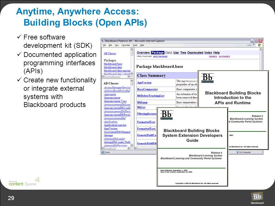 29 Anytime, Anywhere Access: Building Blocks (Open APIs) Free software development kit (SDK) Documented application programming interfaces (APIs) Crea