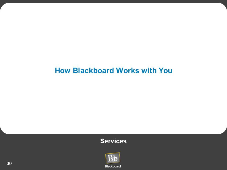 30 How Blackboard Works with You Services