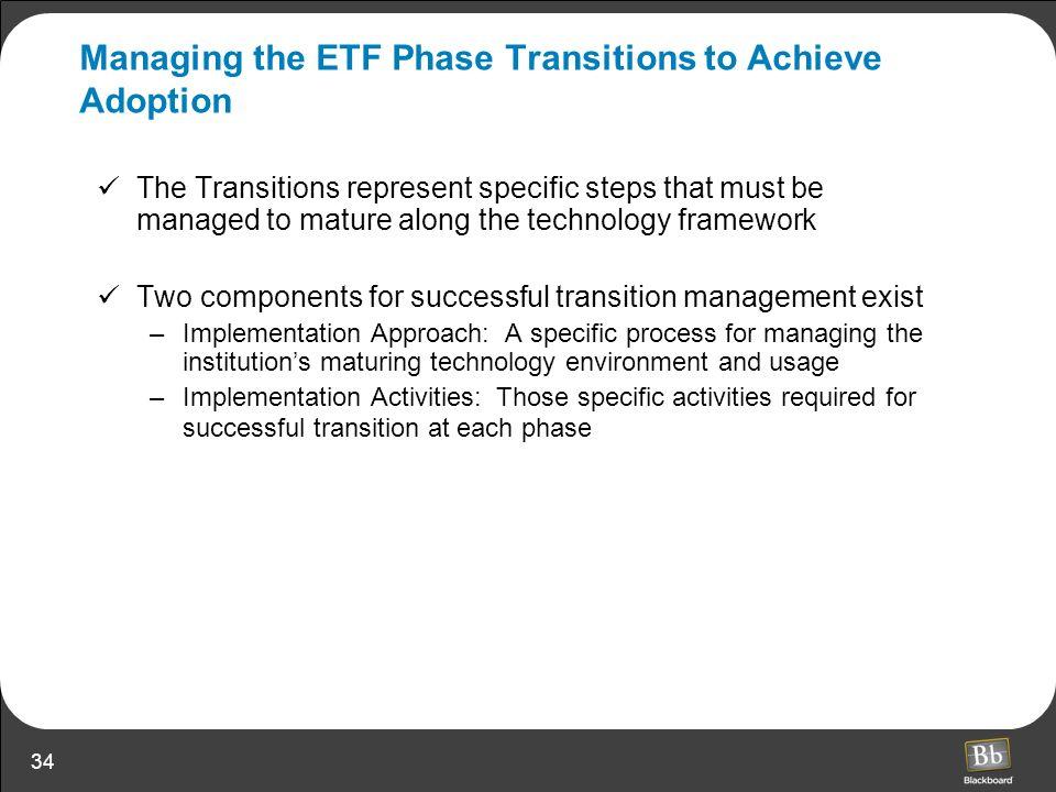 34 Managing the ETF Phase Transitions to Achieve Adoption The Transitions represent specific steps that must be managed to mature along the technology
