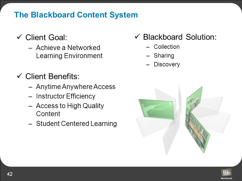 42 Client Goal: –Achieve a Networked Learning Environment Client Benefits: –Anytime Anywhere Access –Instructor Efficiency –Access to High Quality Con