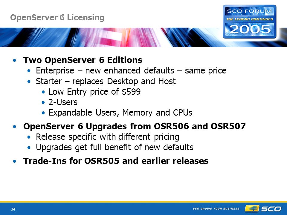 34 OpenServer 6 Licensing Two OpenServer 6 Editions Enterprise – new enhanced defaults – same price Starter – replaces Desktop and Host Low Entry price of $599 2-Users Expandable Users, Memory and CPUs OpenServer 6 Upgrades from OSR506 and OSR507 Release specific with different pricing Upgrades get full benefit of new defaults Trade-Ins for OSR505 and earlier releases