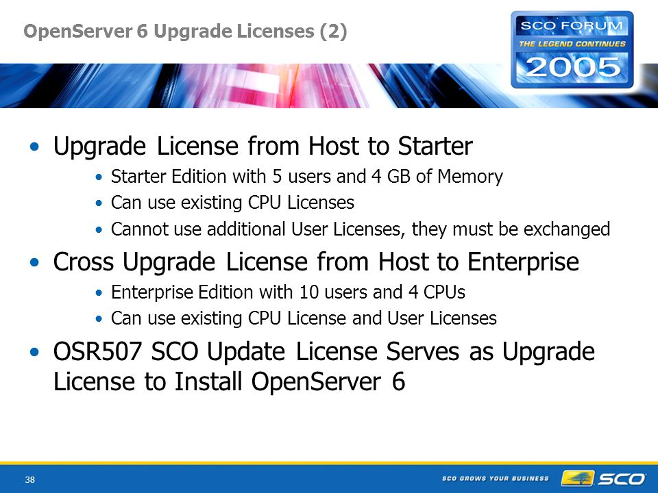 38 OpenServer 6 Upgrade Licenses (2) Upgrade License from Host to Starter Starter Edition with 5 users and 4 GB of Memory Can use existing CPU Licenses Cannot use additional User Licenses, they must be exchanged Cross Upgrade License from Host to Enterprise Enterprise Edition with 10 users and 4 CPUs Can use existing CPU License and User Licenses OSR507 SCO Update License Serves as Upgrade License to Install OpenServer 6
