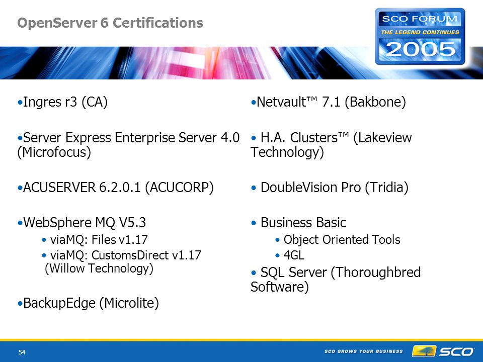54 OpenServer 6 Certifications Ingres r3 (CA) Server Express Enterprise Server 4.0 (Microfocus) ACUSERVER 6.2.0.1 (ACUCORP) WebSphere MQ V5.3 viaMQ: Files v1.17 viaMQ: CustomsDirect v1.17 (Willow Technology) BackupEdge (Microlite) Netvault 7.1 (Bakbone) H.A.