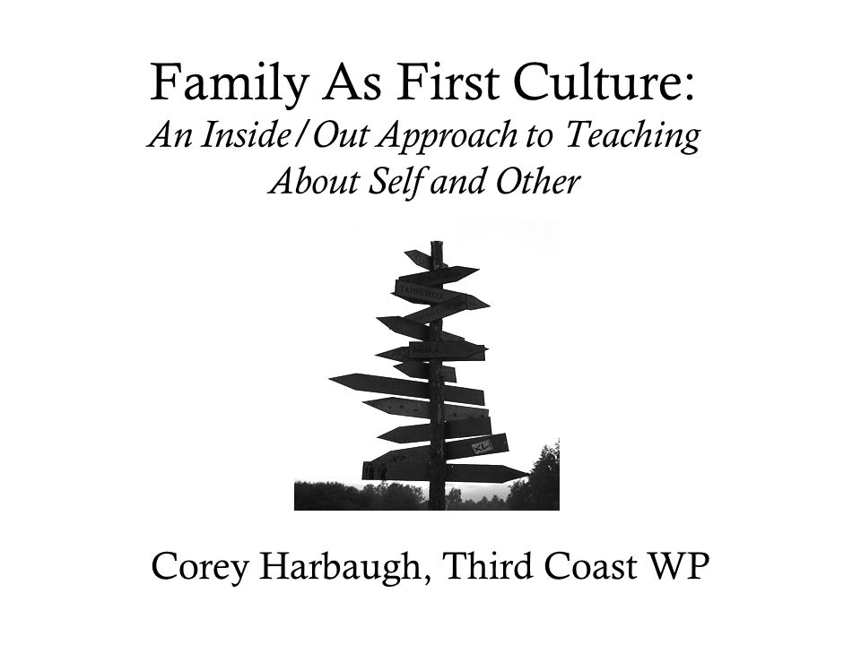 Family As First Culture: An Inside/Out Approach to Teaching About Self and Other Corey Harbaugh, Third Coast WP