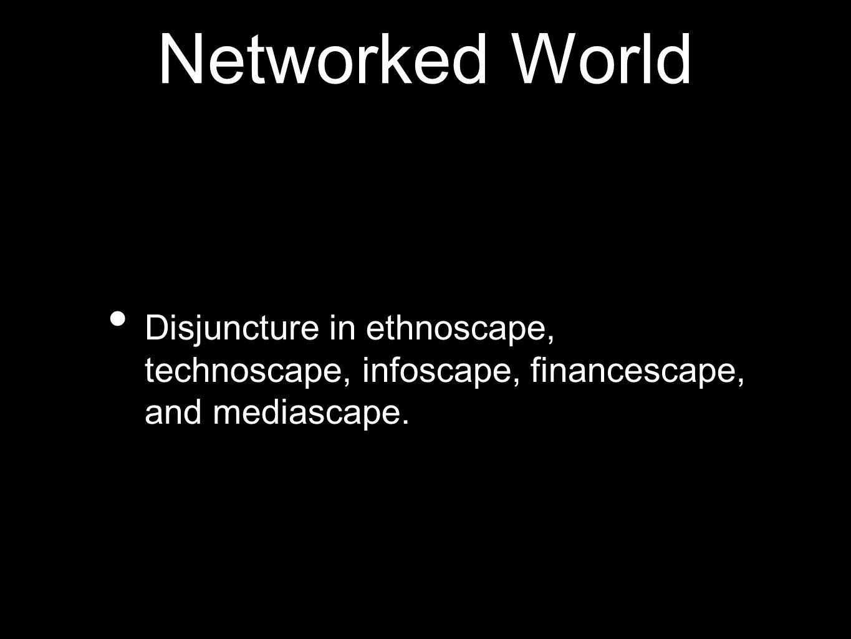 Networked World Disjuncture in ethnoscape, technoscape, infoscape, financescape, and mediascape.