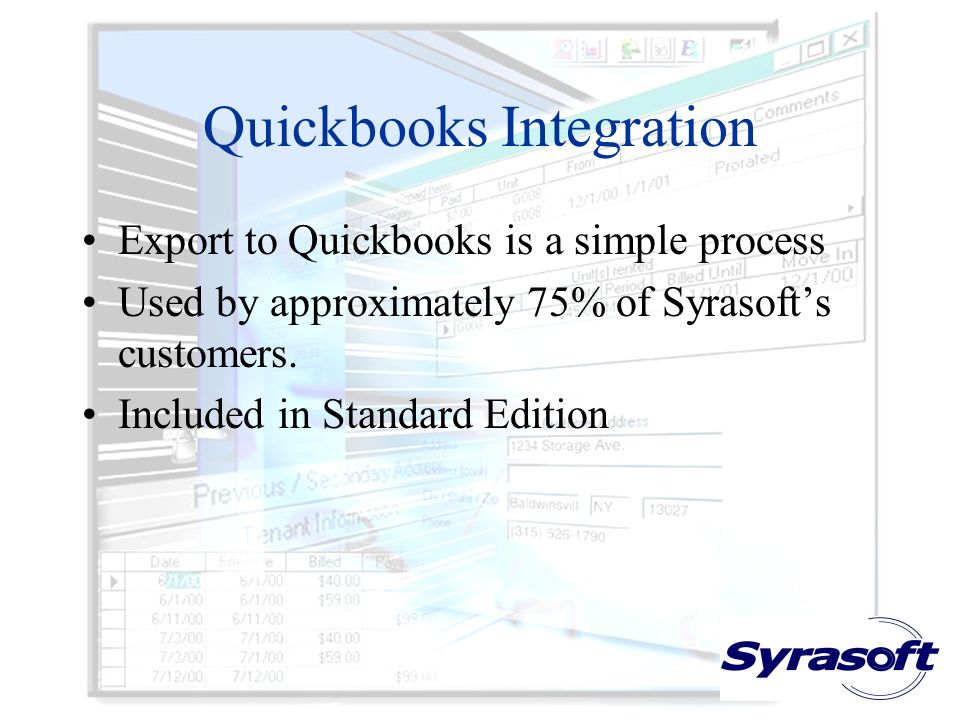 Quickbooks Integration Export to Quickbooks is a simple process Used by approximately 75% of Syrasofts customers. Included in Standard Edition