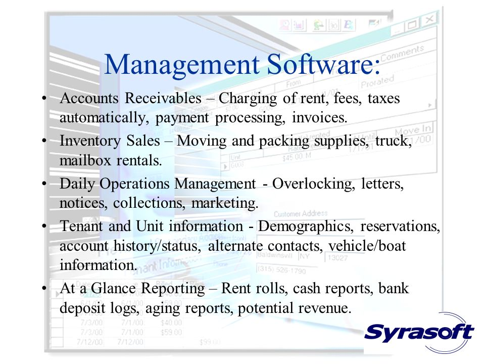 Management Software: Accounts Receivables – Charging of rent, fees, taxes automatically, payment processing, invoices.