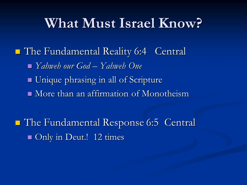 What Must Israel Know.