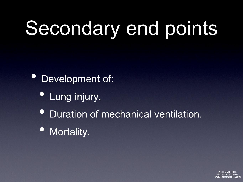 Secondary end points Development of: Lung injury. Duration of mechanical ventilation. Mortality. Nir Hus MD., PhD. Ryder Trauma Center Jackson Memoria
