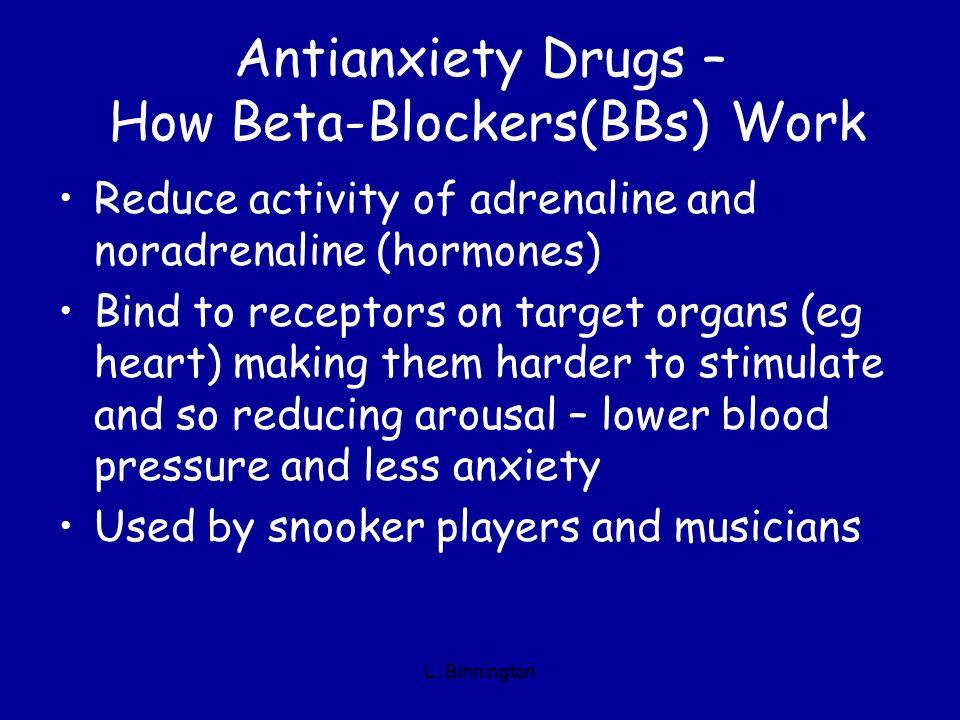 Antianxiety Drugs – How Beta-Blockers(BBs) Work Reduce activity of adrenaline and noradrenaline (hormones) Bind to receptors on target organs (eg hear