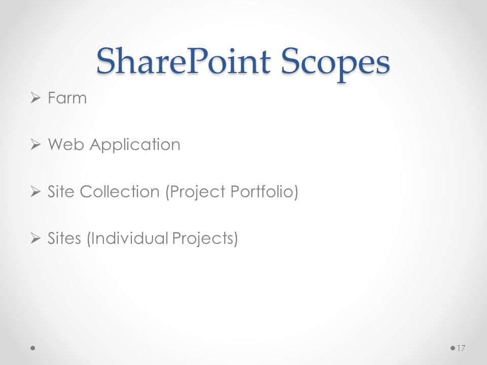 SharePoint Scopes Farm Web Application Site Collection (Project Portfolio) Sites (Individual Projects) 17