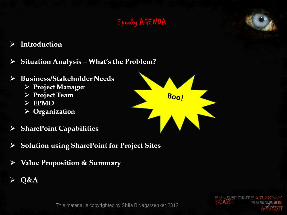 Spooky AGENDA Introduction Situation Analysis – Whats the Problem? Business/Stakeholder Needs Project Manager Project Team EPMO Organization SharePoin