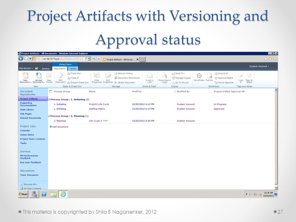 Project Artifacts with Versioning and Approval status 27This material is copyrighted by Shila B Nagarsenker, 2012