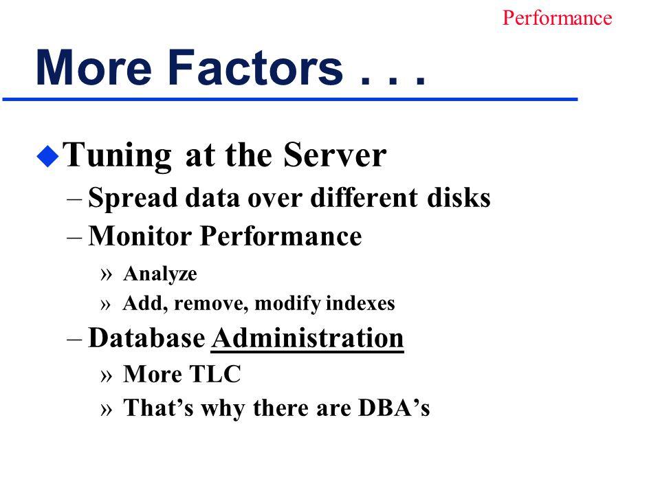 More Factors...