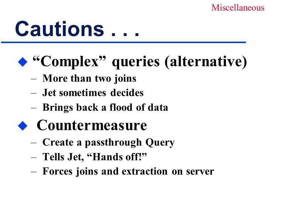 Cautions...