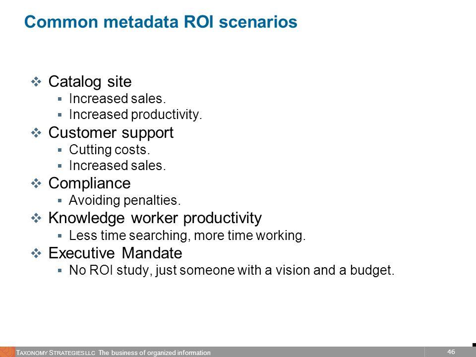 46 T AXONOMY S TRATEGIES LLC The business of organized information Common metadata ROI scenarios v Catalog site Increased sales. Increased productivit