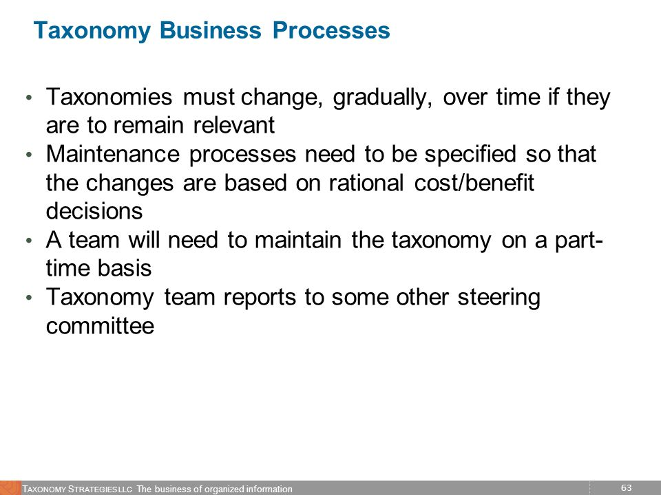 63 T AXONOMY S TRATEGIES LLC The business of organized information Taxonomy Business Processes Taxonomies must change, gradually, over time if they ar