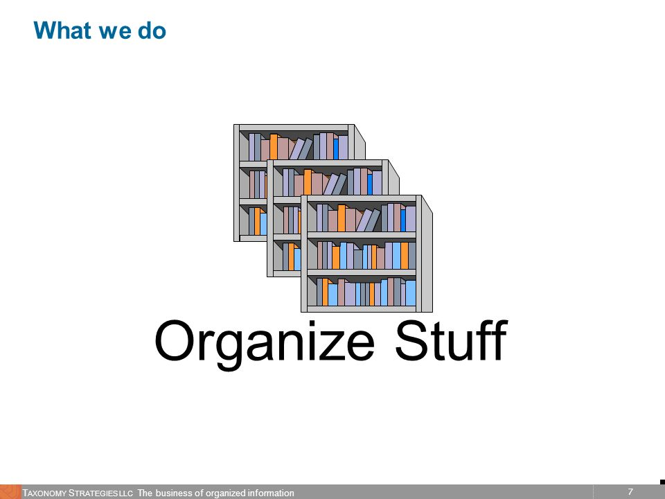 7 T AXONOMY S TRATEGIES LLC The business of organized information What we do Organize Stuff