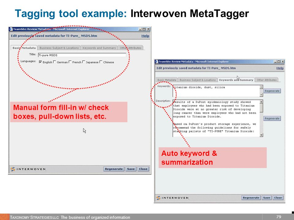 79 T AXONOMY S TRATEGIES LLC The business of organized information Tagging tool example: Interwoven MetaTagger Manual form fill-in w/ check boxes, pul