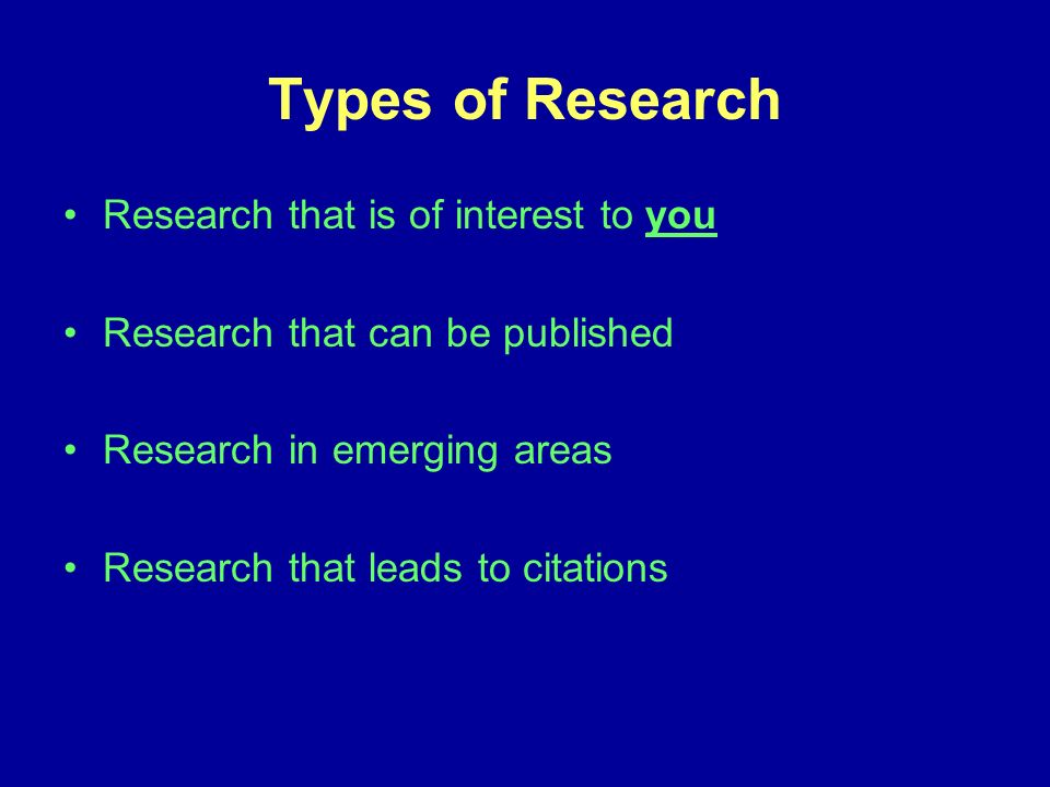 Types of Research Research that is of interest to you Research that can be published Research in emerging areas Research that leads to citations