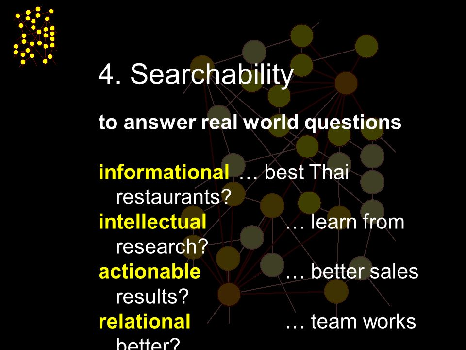 page Searchability to answer real world questions informational … best Thai restaurants.