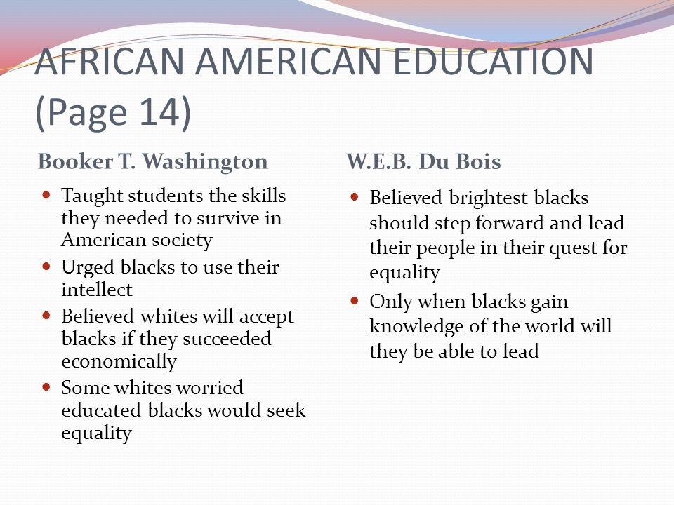 AFRICAN AMERICAN EDUCATION (Page 14) Booker T. Washington W.E.B. Du Bois Taught students the skills they needed to survive in American society Urged b