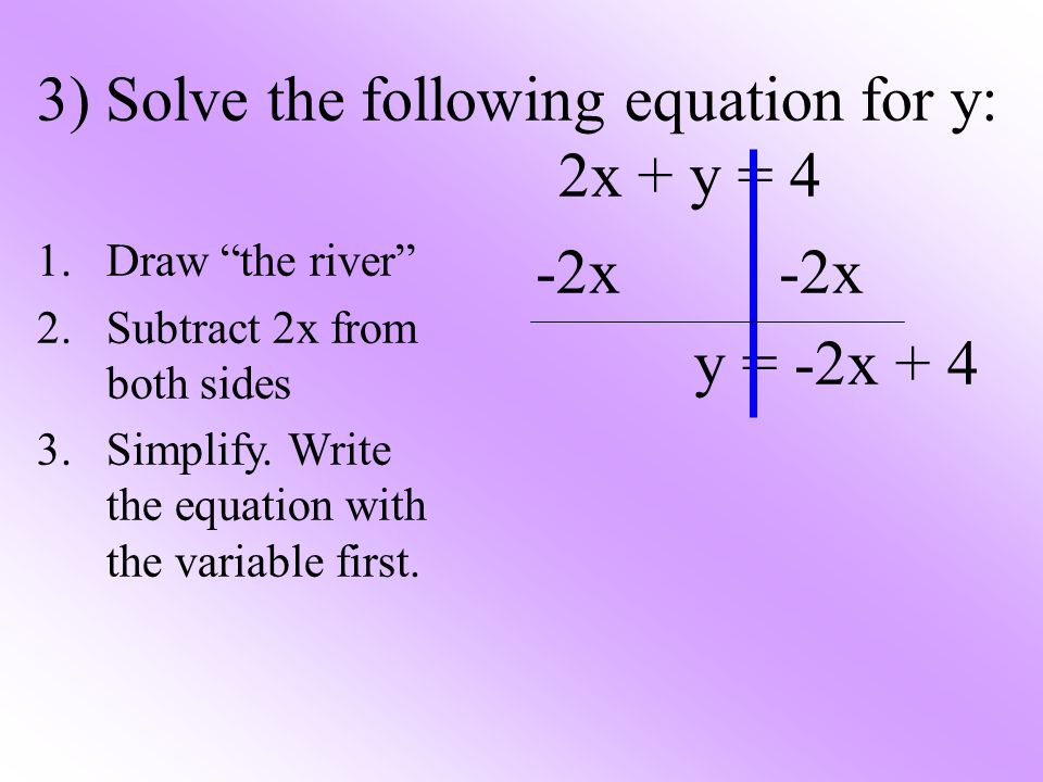 3) Solve the following equation for y: 2x + y = 4 1.Draw the river 2.Subtract 2x from both sides 3.Simplify. Write the equation with the variable firs