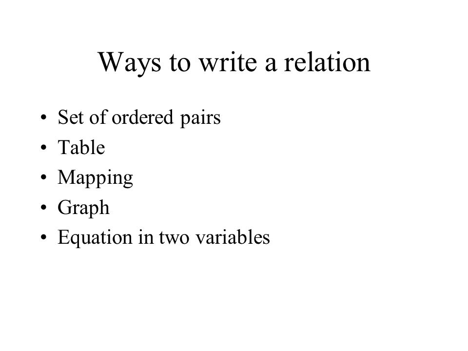 Ways to write a relation Set of ordered pairs Table Mapping Graph Equation in two variables
