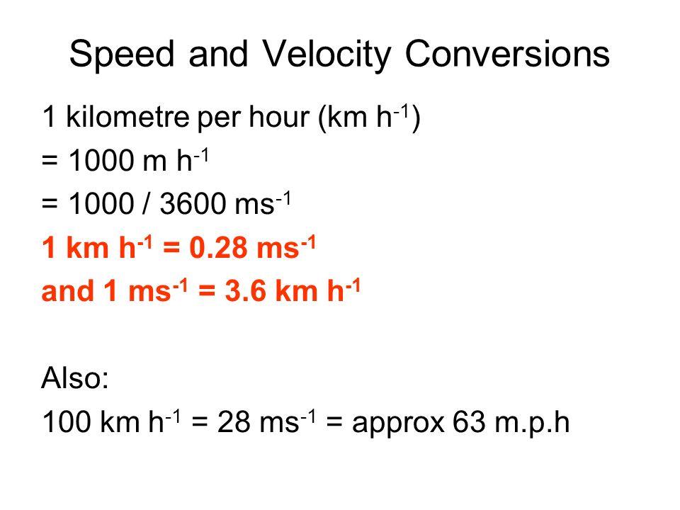 Speed and Velocity Conversions 1 kilometre per hour (km h -1 ) = 1000 m h -1 = 1000 / 3600 ms -1 1 km h -1 = 0.28 ms -1 and 1 ms -1 = 3.6 km h -1 Also