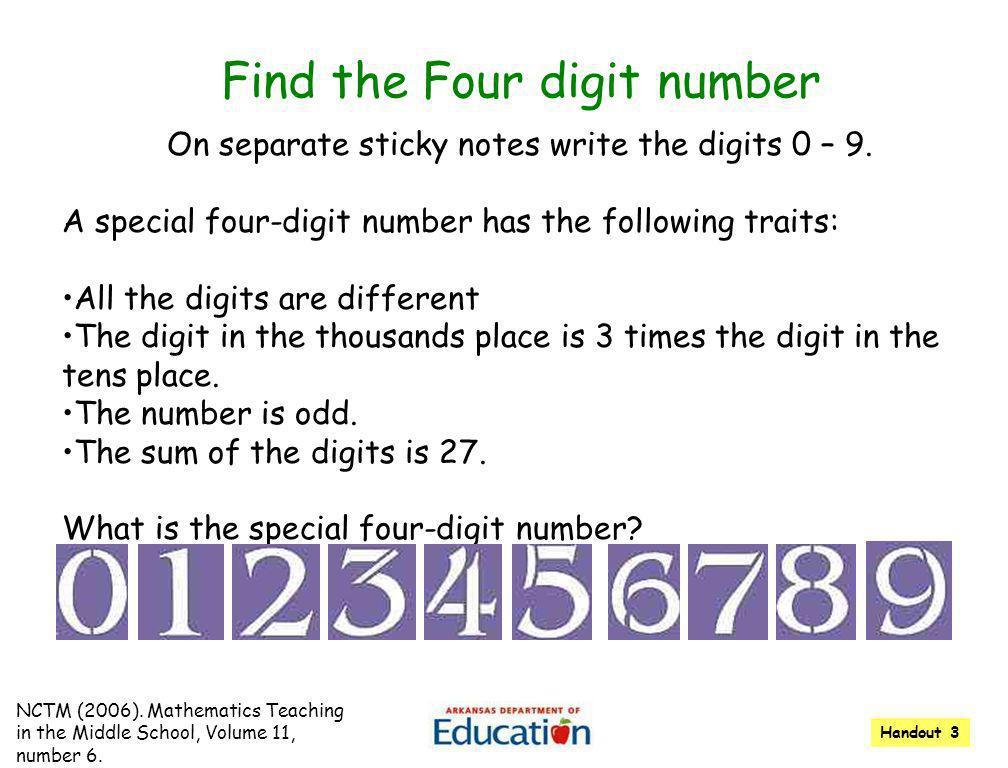 Find the Four digit number 1 On separate sticky notes write the digits 0 – 9. A special four-digit number has the following traits: All the digits are