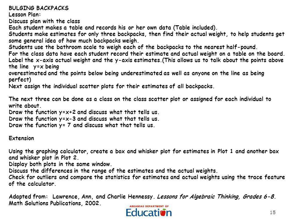 15 BULGING BACKPACKS Lesson Plan: Discuss plan with the class Each student makes a table and records his or her own data (Table included). Students ma