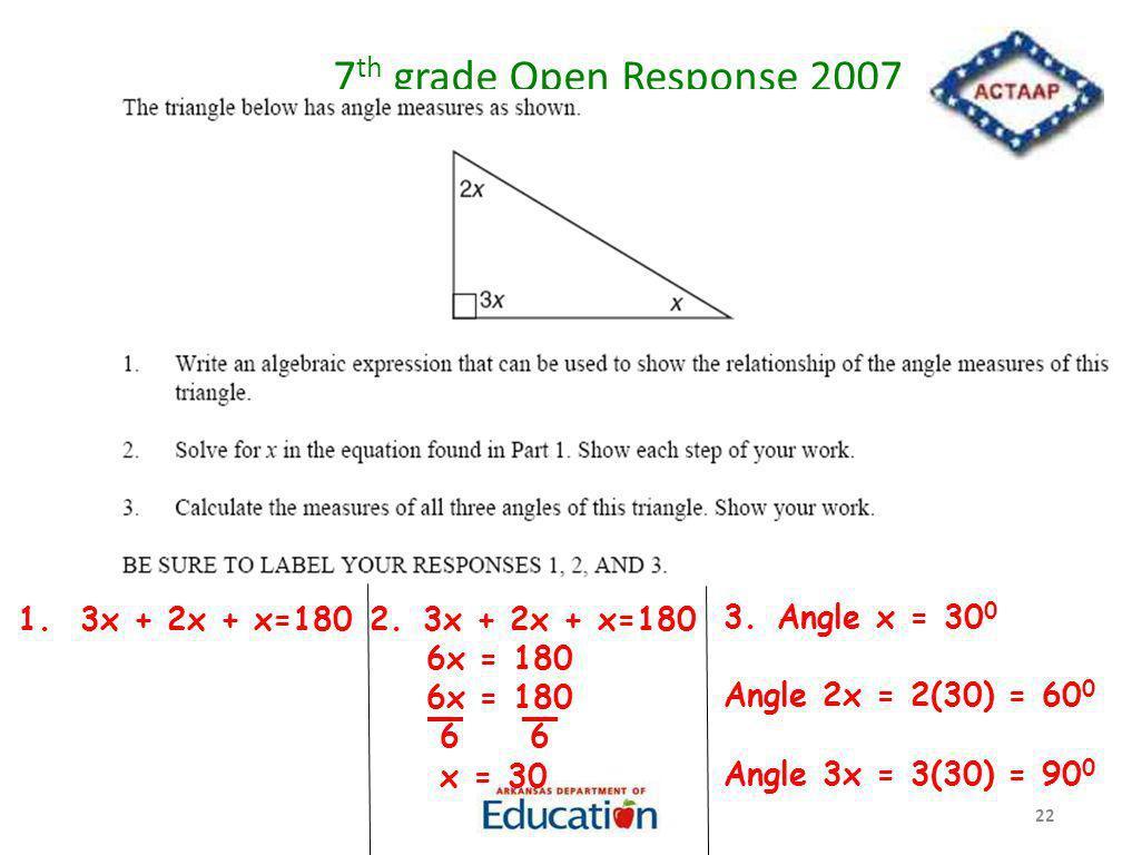 7 th grade Open Response 2007 22 1. 3x + 2x + x=1802.3x + 2x + x=180 6x = 180 6 6 x = 30 3.Angle x = 30 0 Angle 2x = 2(30) = 60 0 Angle 3x = 3(30) = 9